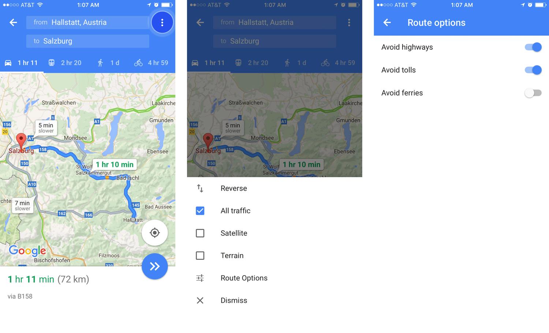 Turning on the Avoid highways option Google Maps