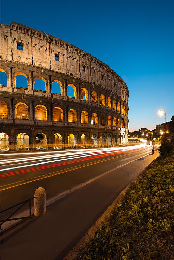 Colosseum Light Trails by Michael Woloszynowicz
