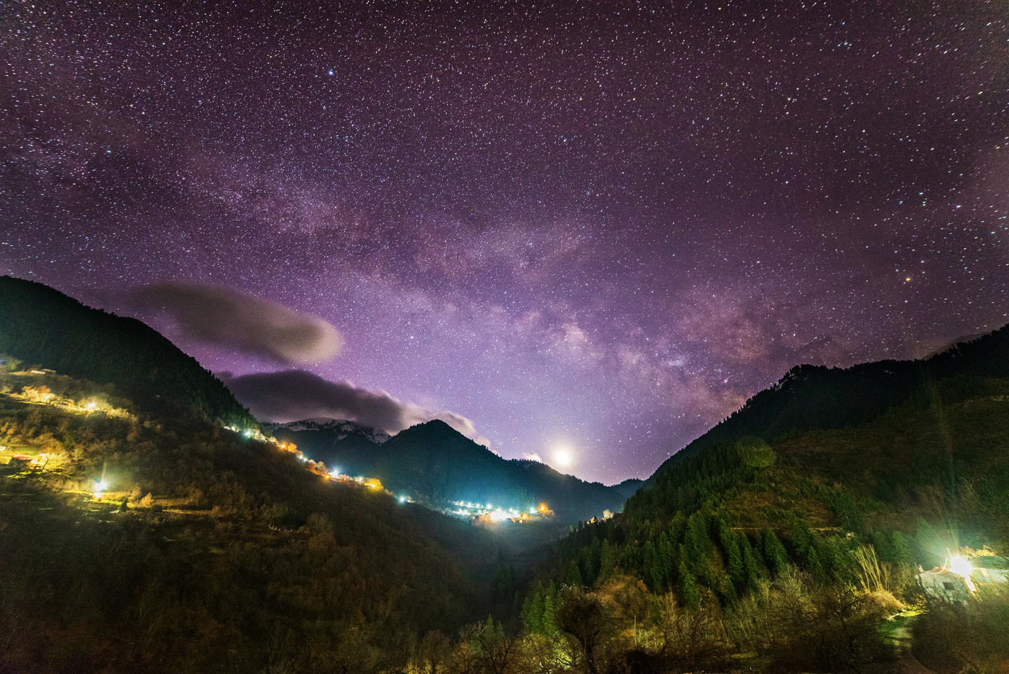 Milky Way and the Moon