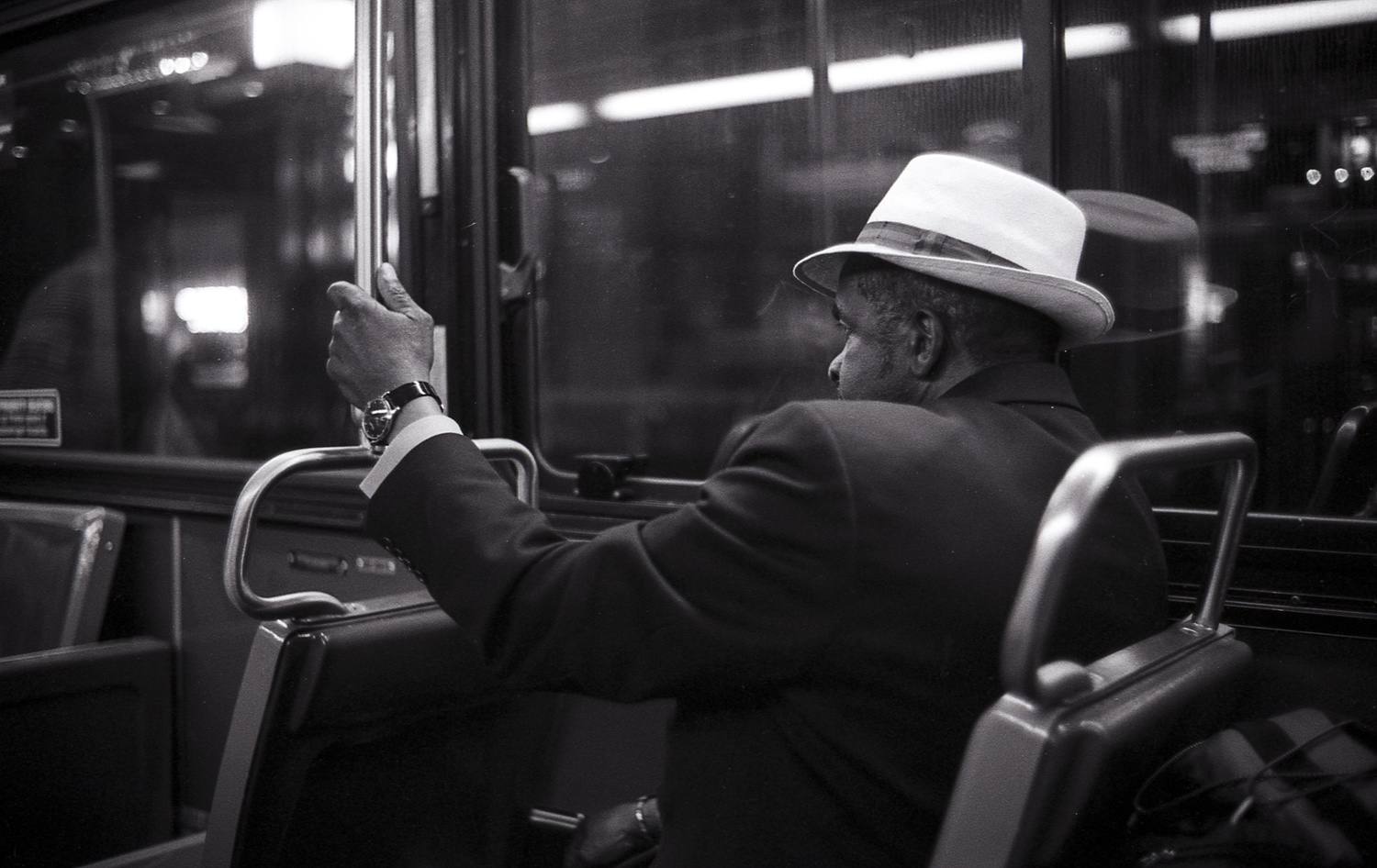 In new york youll often see people dressed like they are from another era again black and white provides a mystery for the era he could be from