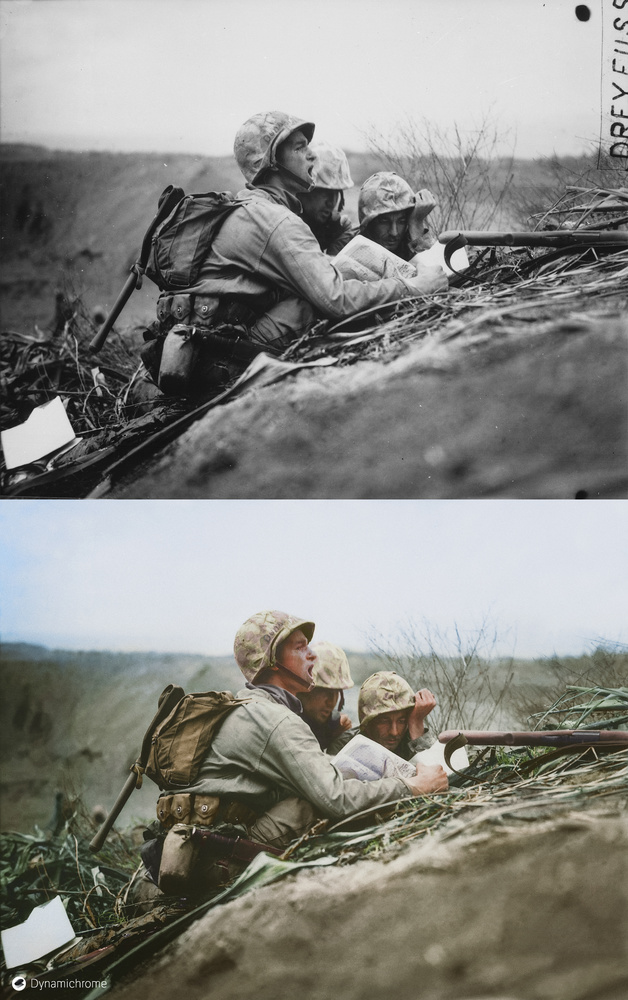 OBSERVER ON IWO JIMA, 1945 by the US Marine Corps. February 1945.