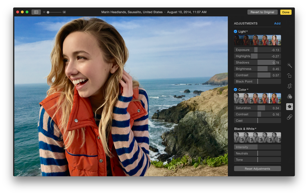 Apple Photos editing options