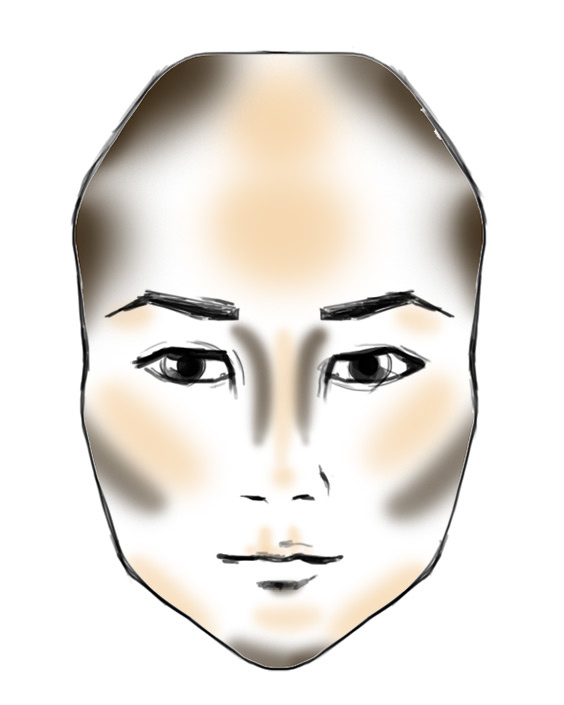 heart shape face contouring pattern