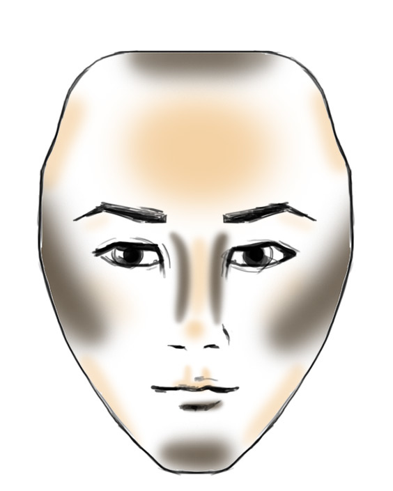 diamond shaped face contouring example