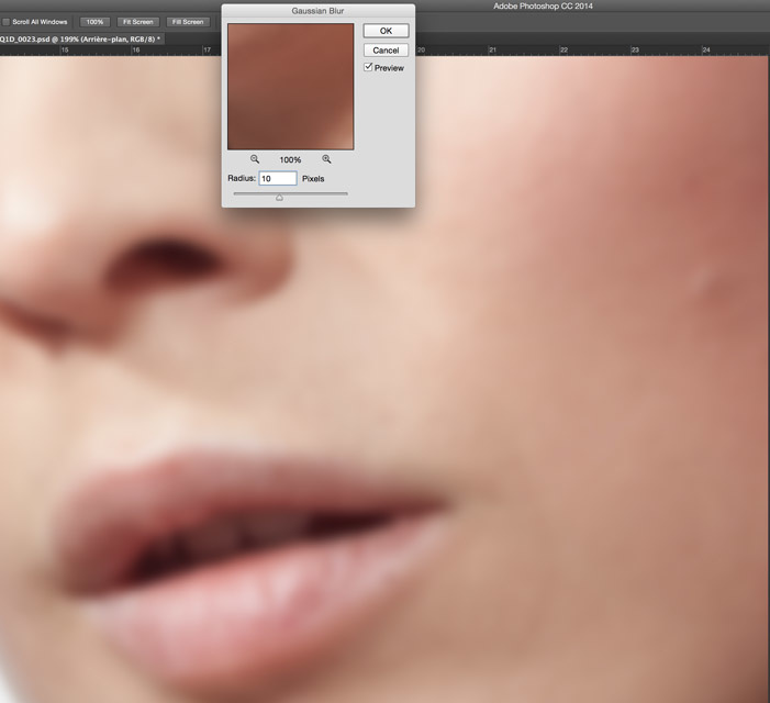 Cleaning the skin with low frequency in Photoshop choosing the right radius