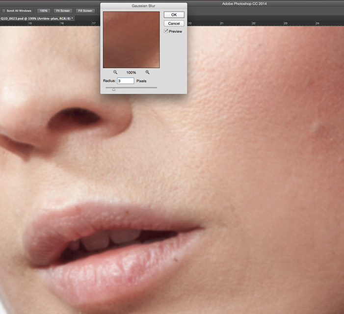 Cleaning the skin with low frequency in Photoshop with wrong radius