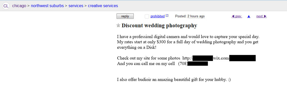 Craigslist discount wedding photography ad