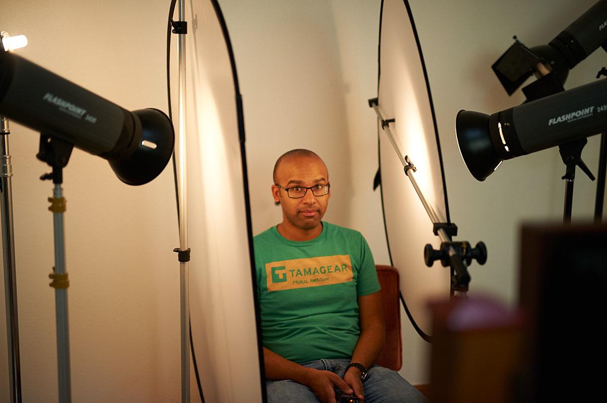 Hans Rosemond sits for a portrait using wet plate collodion process
