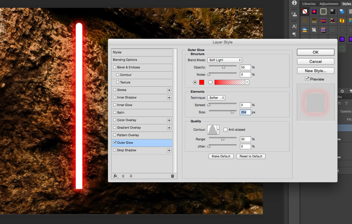 how to create light in photoshop