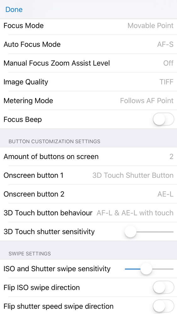 Custom Cam iPhone App Settings Screen