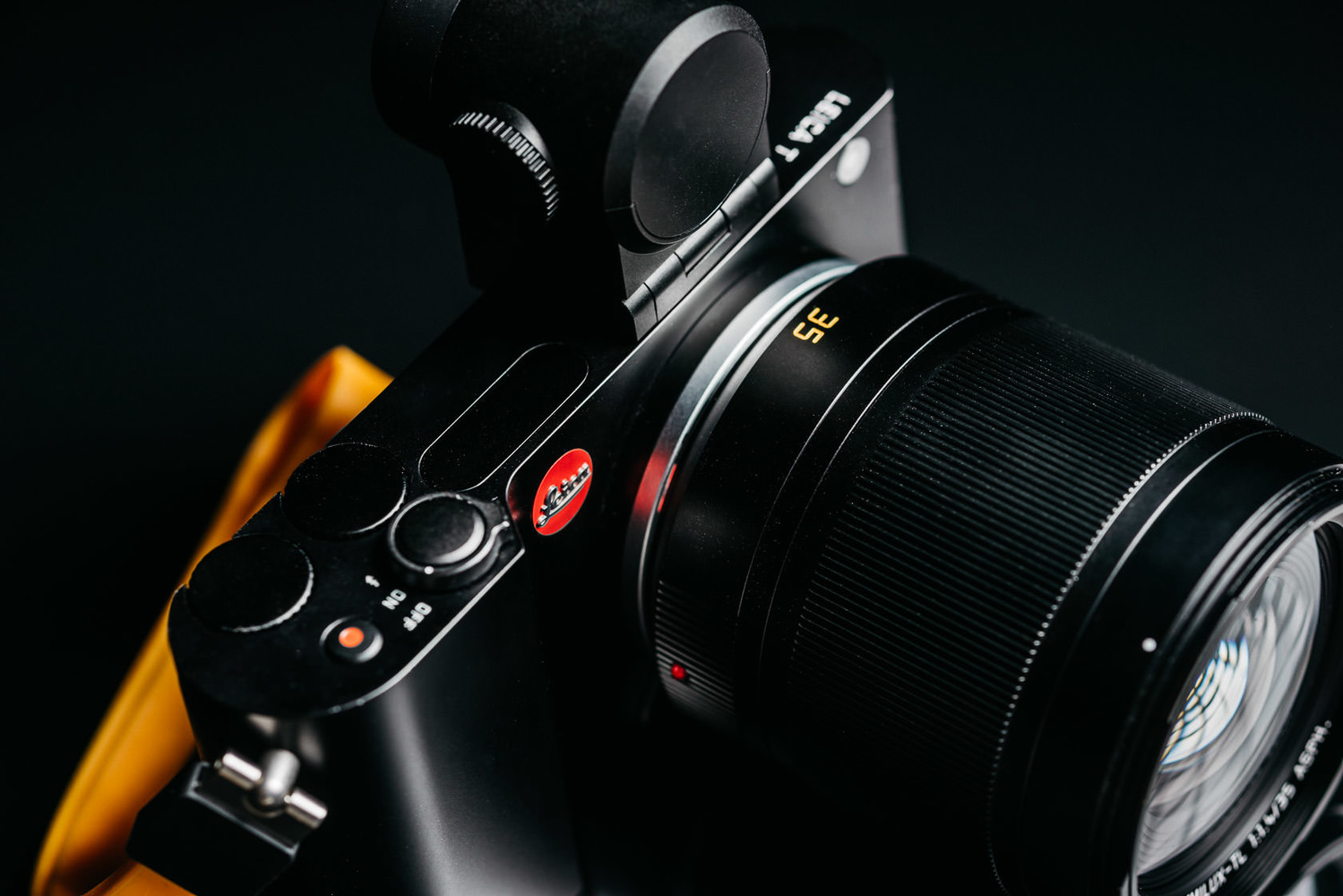 Photo of black Leica T with 35mm Summilux lens and EVF