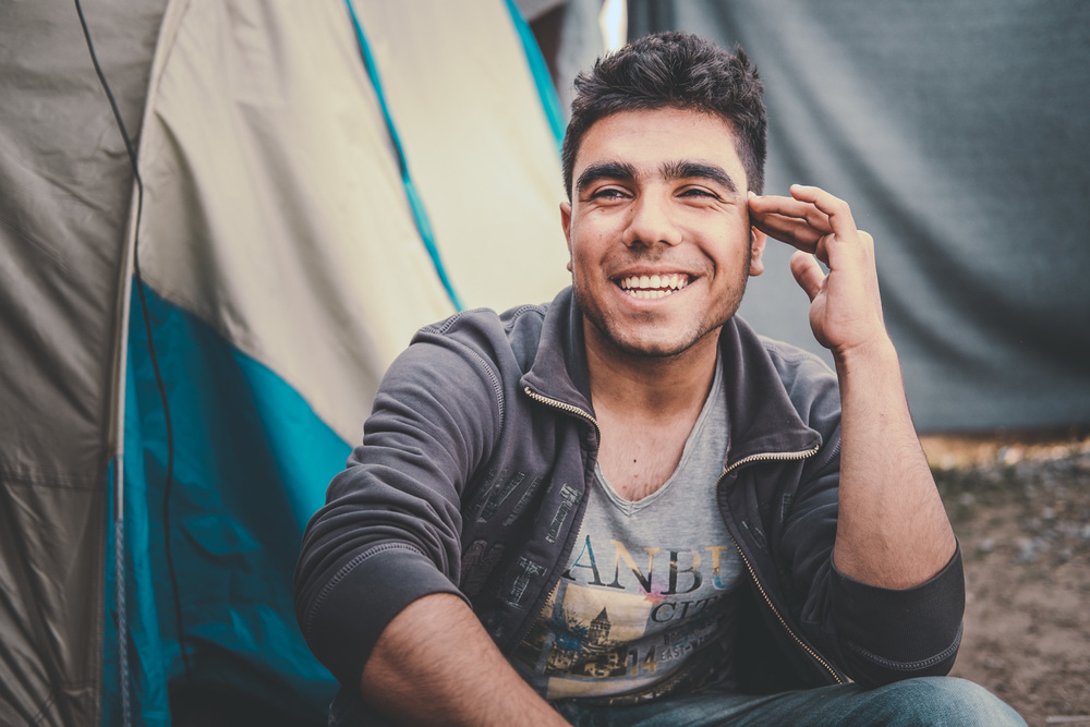 man refugee smiling