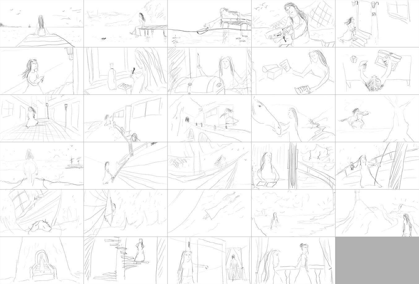 Letter in a bottle - storyboard sketch
