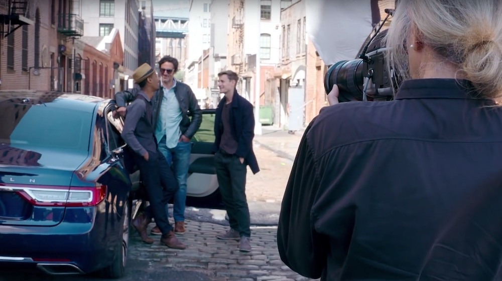 Lincoln Continental behind the scenes with Annie Leibovitz photographing three men