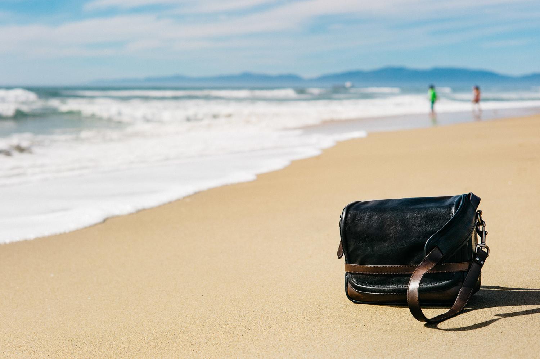 Wotancraft Ryker Leather Camera Bag at Manhattan Beach Pier California