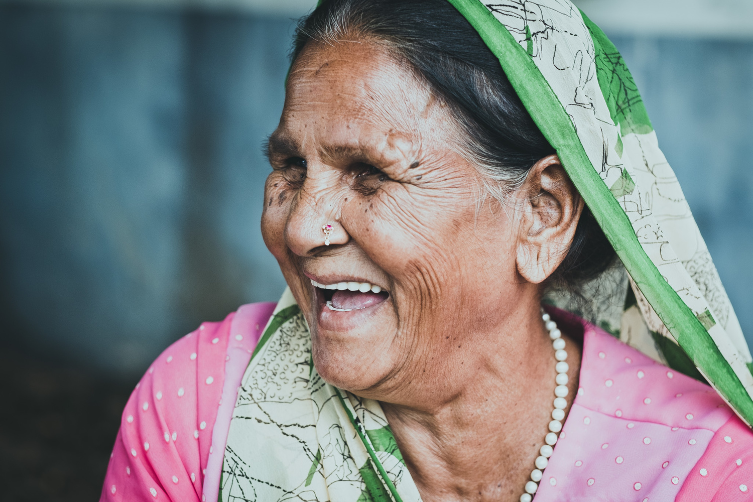 Portrait of a lady in India
