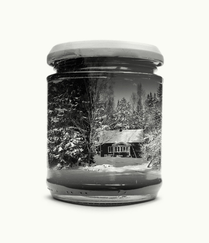 home, forest, snow, jar
