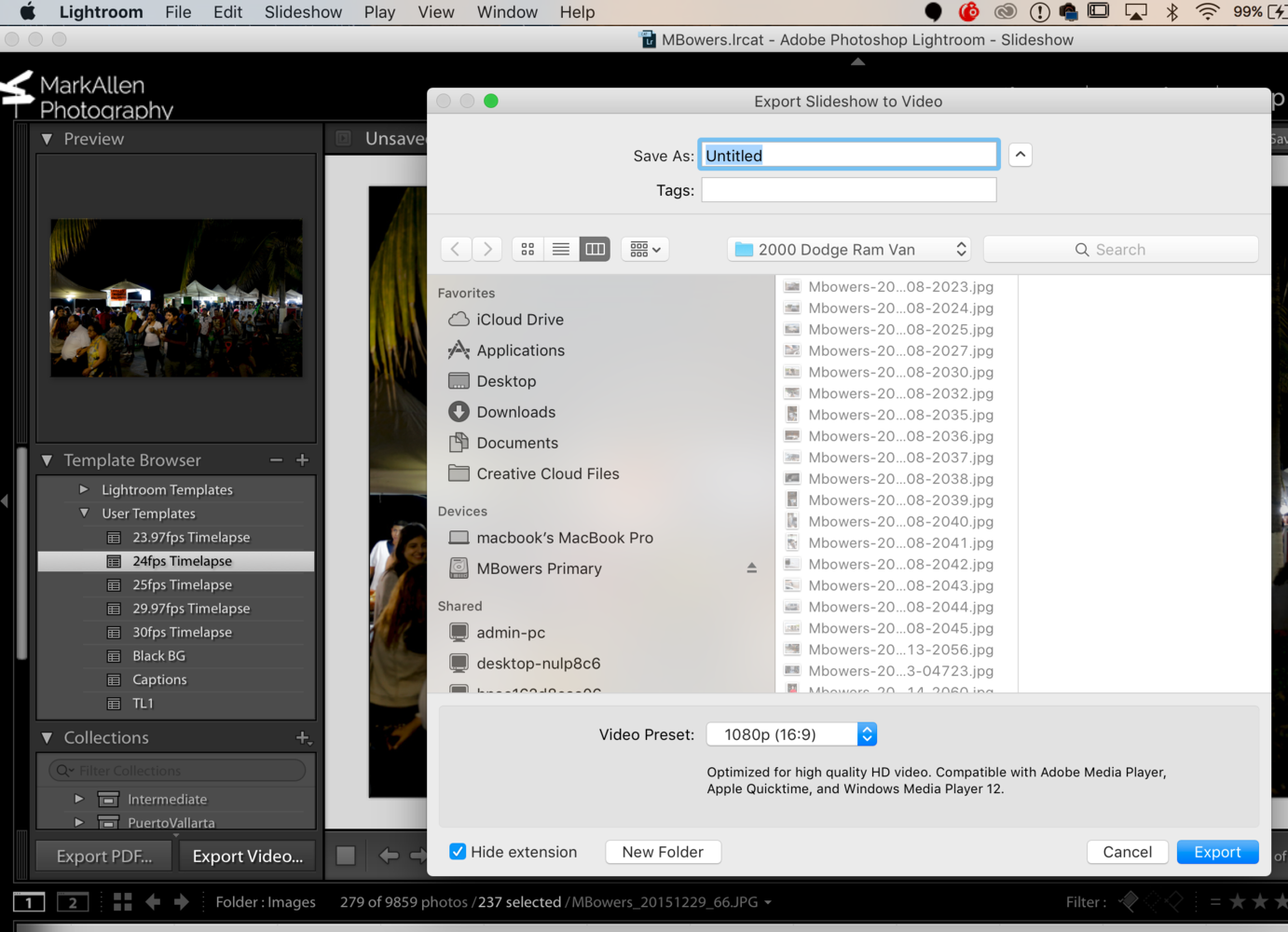 Save Your Timelapse Accordingly And Select A Video Preset Of 1080p 16 9