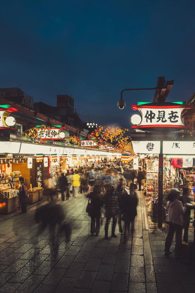 Temple in Asakusa, tokyo at night