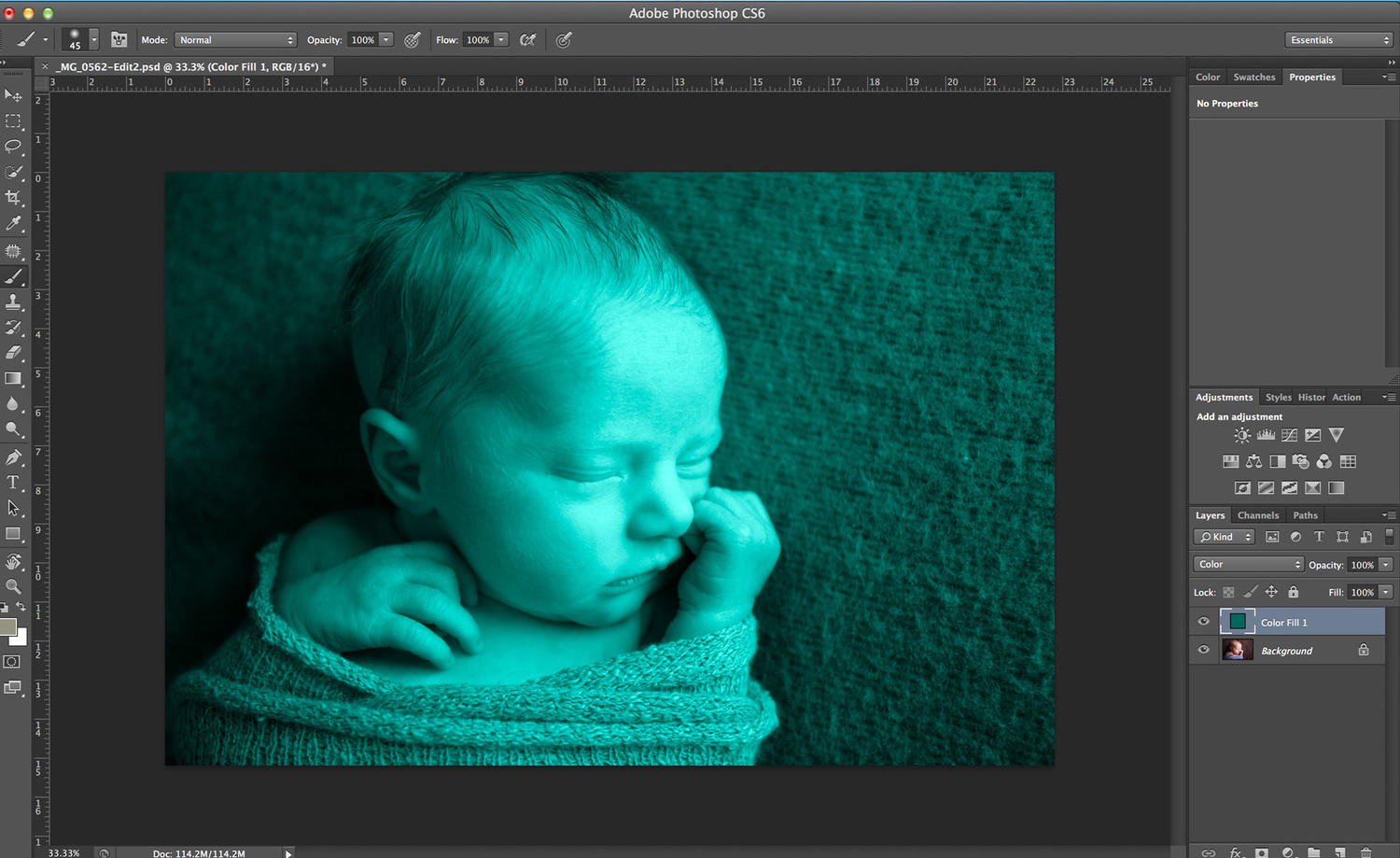 editing color in newborn photography