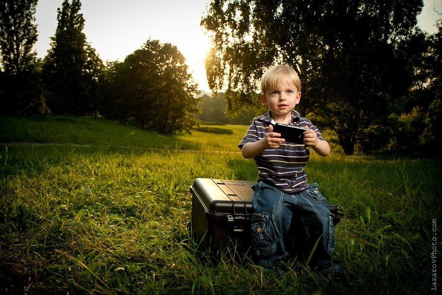 Child taking pictures with a phone