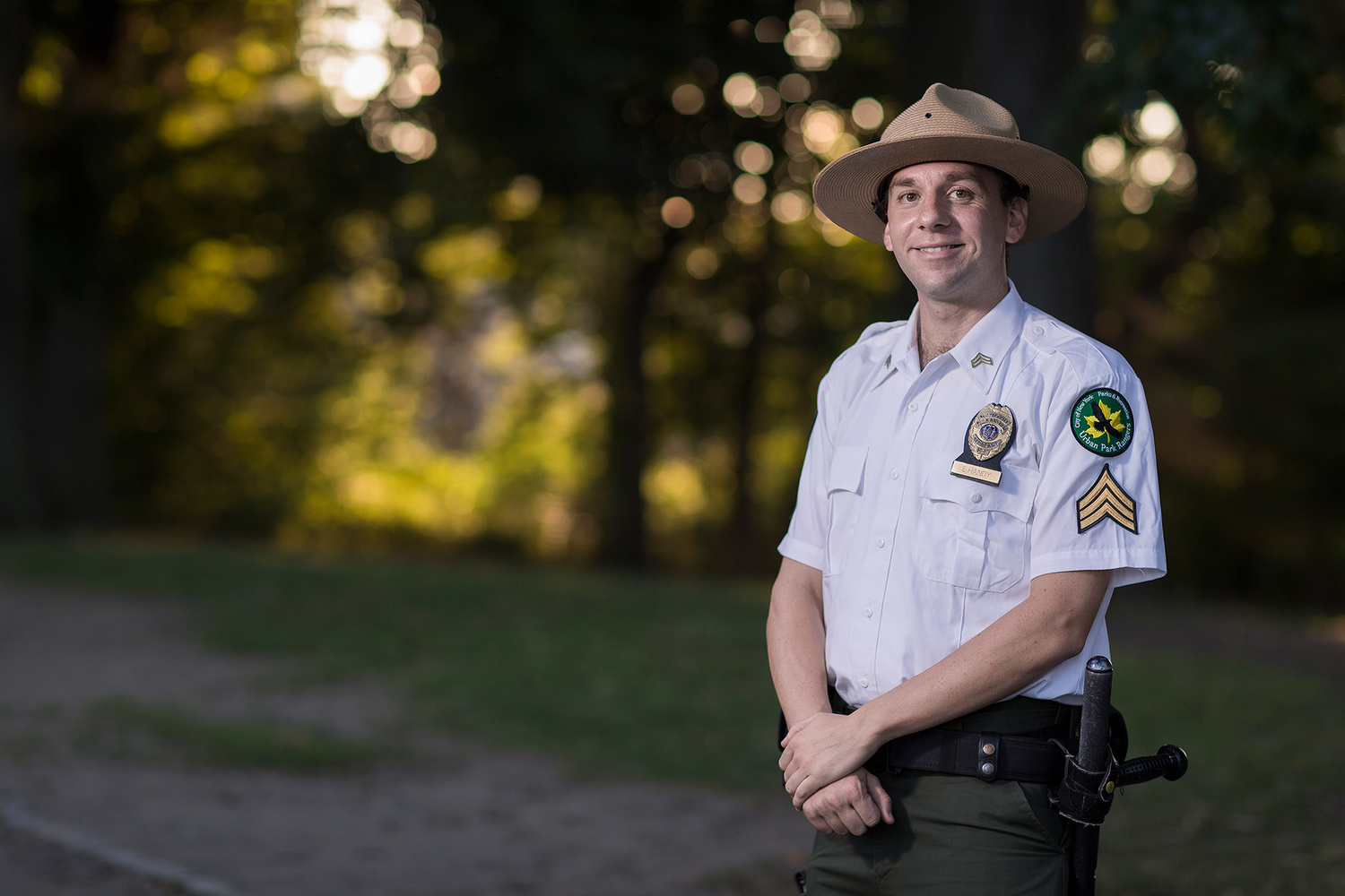 Park ranger shot with Canon EF 85mm F/1.2L II USM.