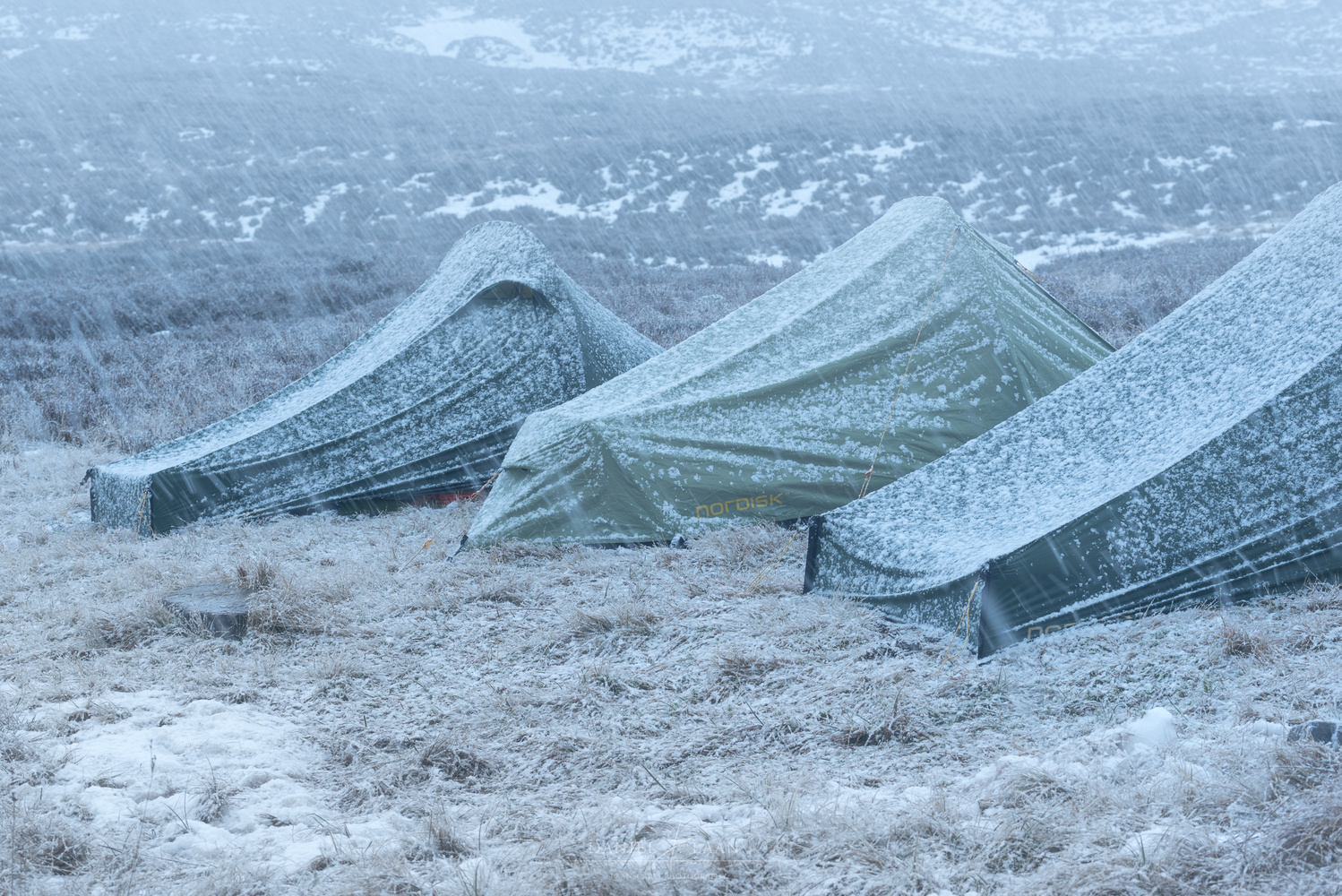 Nordisk tents in the snow.