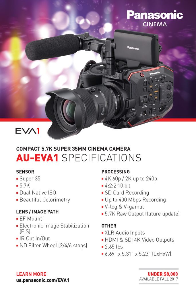 Panasonic Quietly Release Details for EVA1, a 5 7K Video