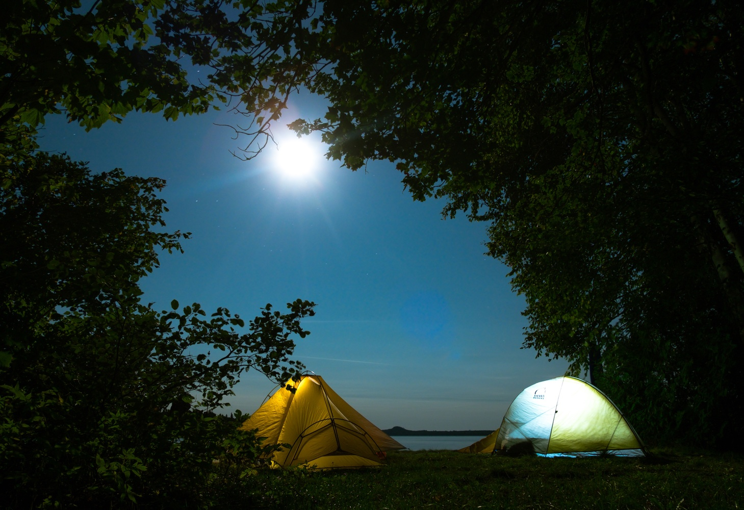 Tents in moonlight