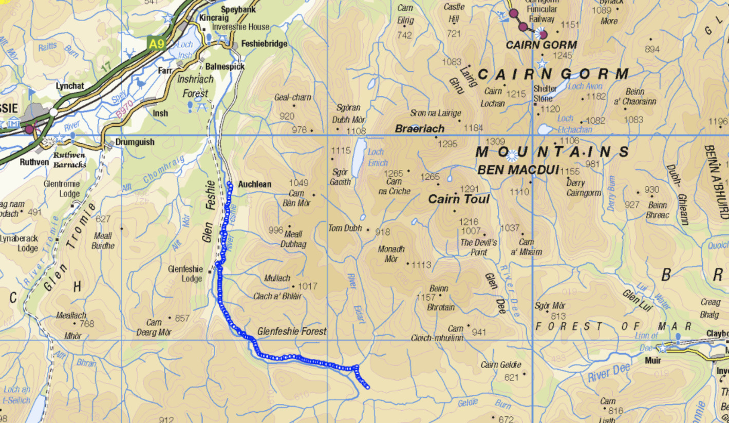 Map of the Cairngorms national park