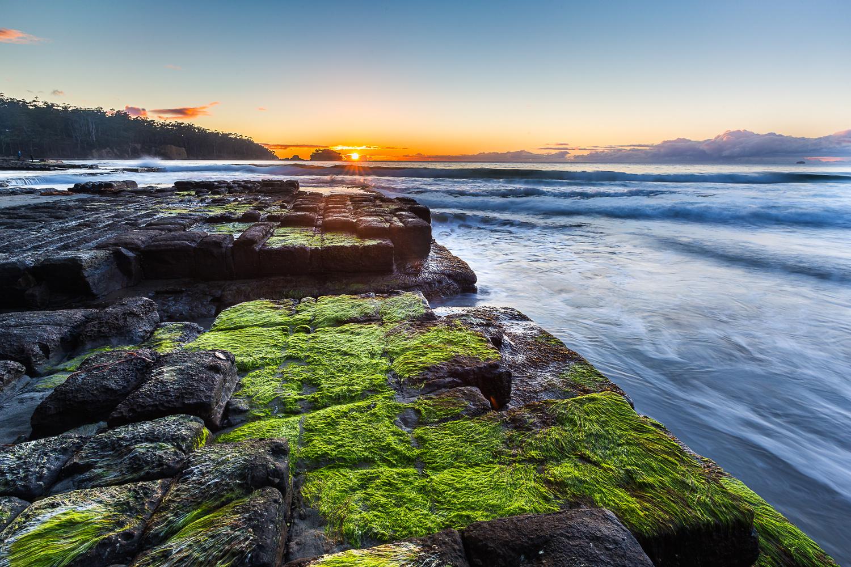 rocks, seascapes, landscapes, sunrise, water, ocean, slow shutter, long exposure