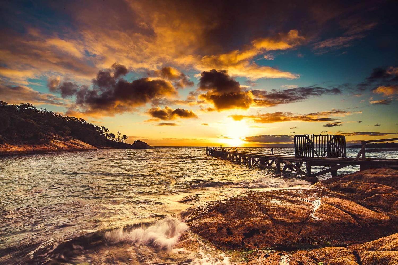 sunset, tasmania