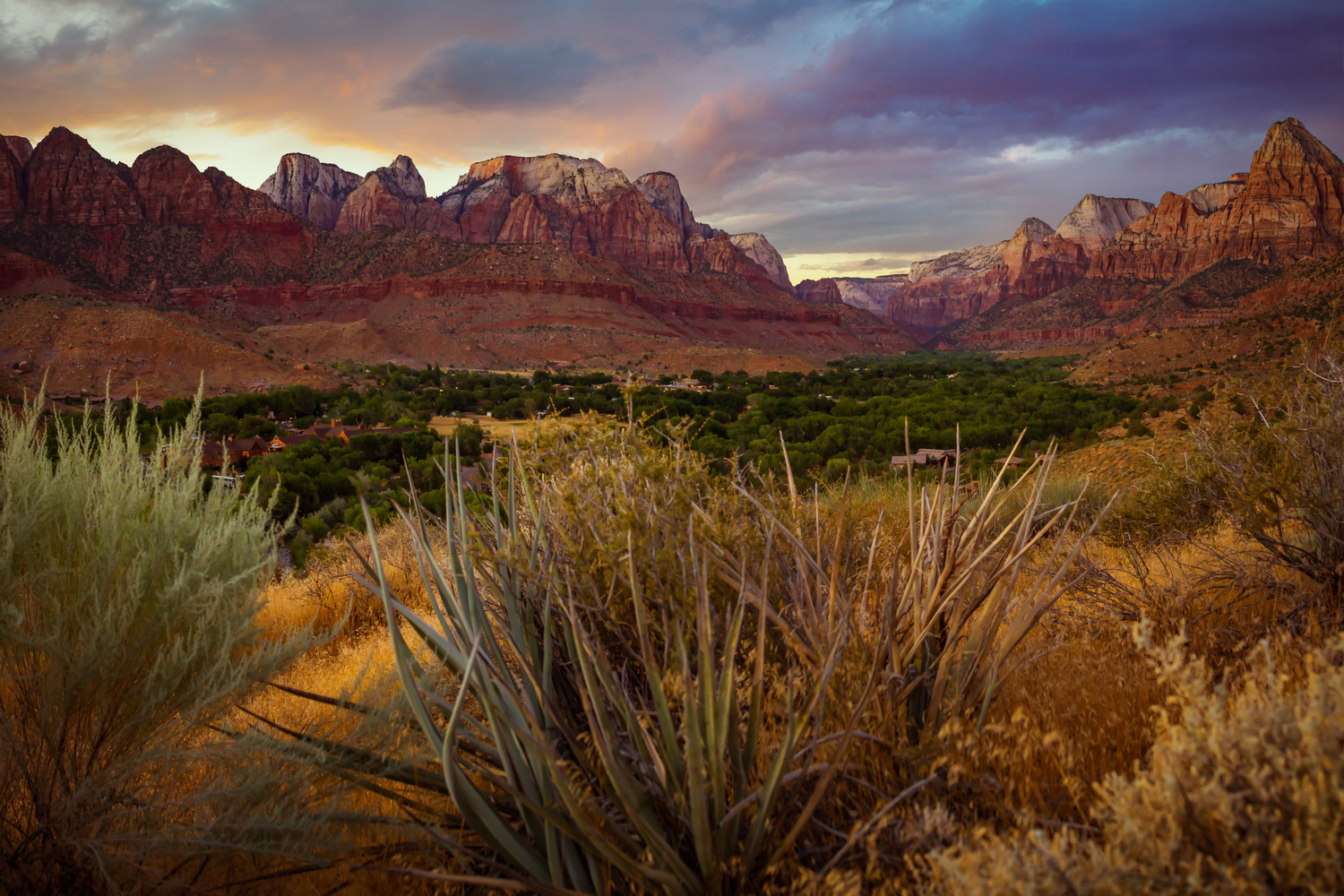sunset image of zion national park in southern utah