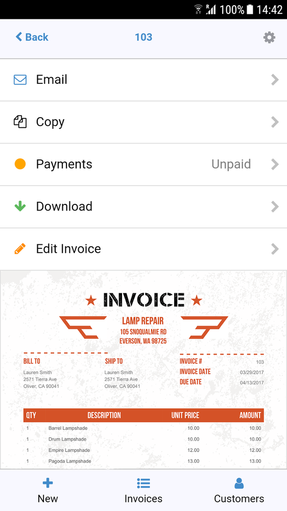 ... From Over 100 Reviews) That Extends Their Functionality To Your Mobile  Android Phone, Making Instant Invoice Creation And Delivery Easier Than  Ever.  Invoice Creation