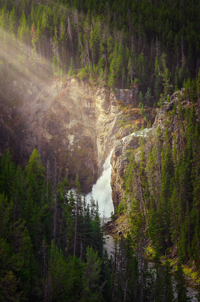 zoomed in shot of the upper falls in yellowstone national park