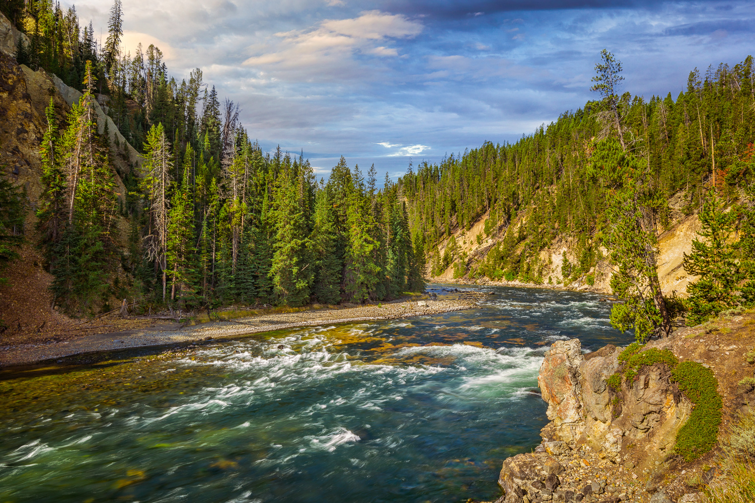 sunrise shot looking upstream above the lower falls in yellowstone national park