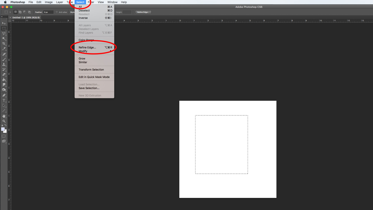 A screenshot displaying the Refine Edge tool in Adobe Photoshop CS6.