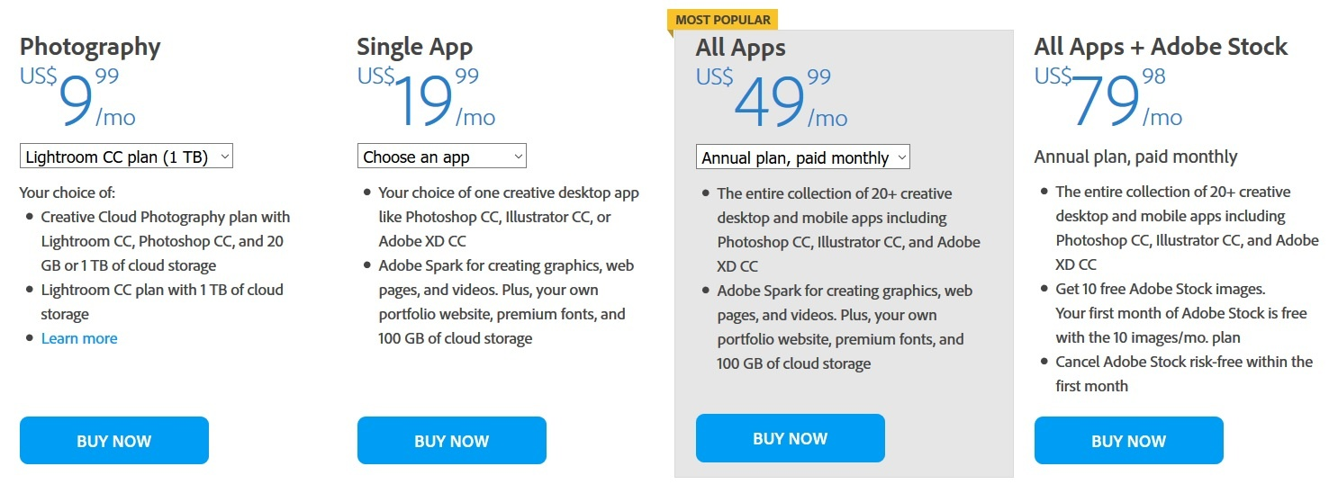 how much is adobe creative cloud for teams