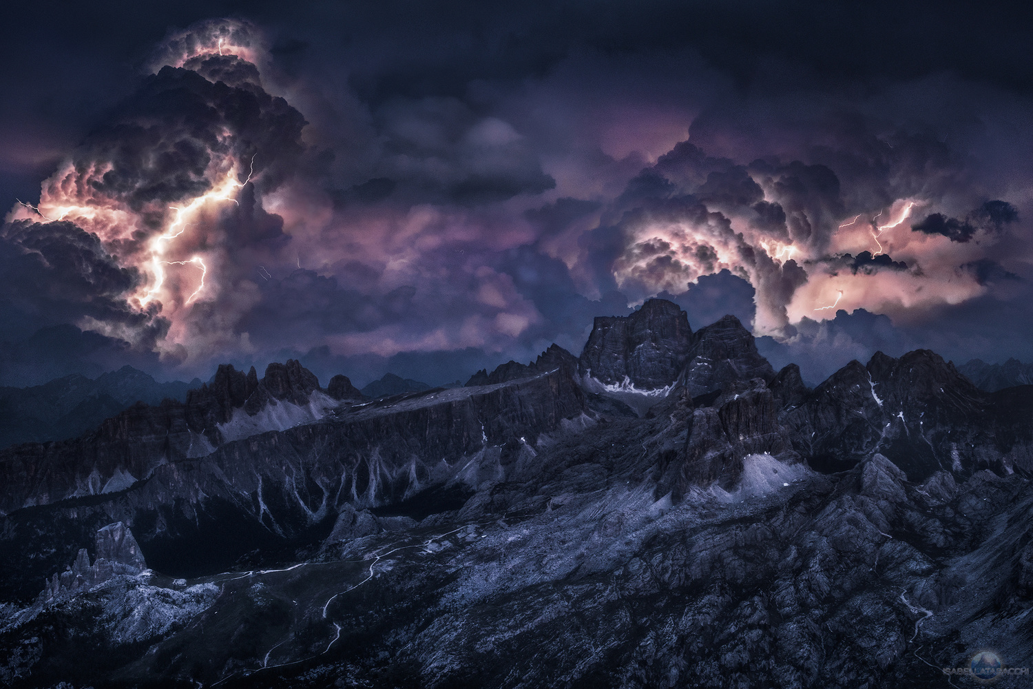 Intense Lightning over Cinque Torri, Dolomites