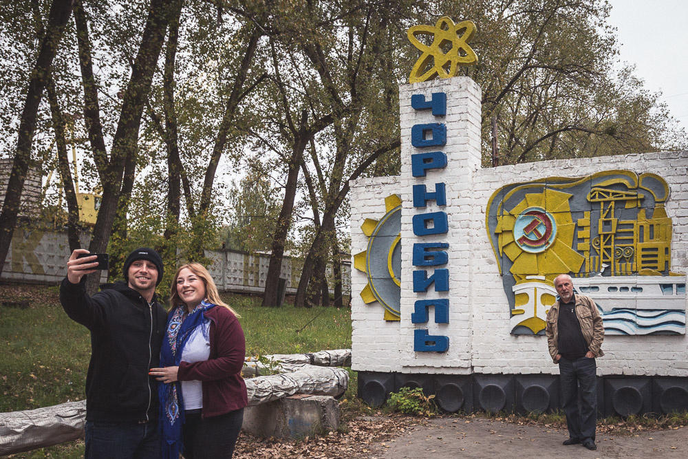 The sign as you enter the town of Chernobyl, a popular stop-off for busloads of tourists. Image by Andy Day.