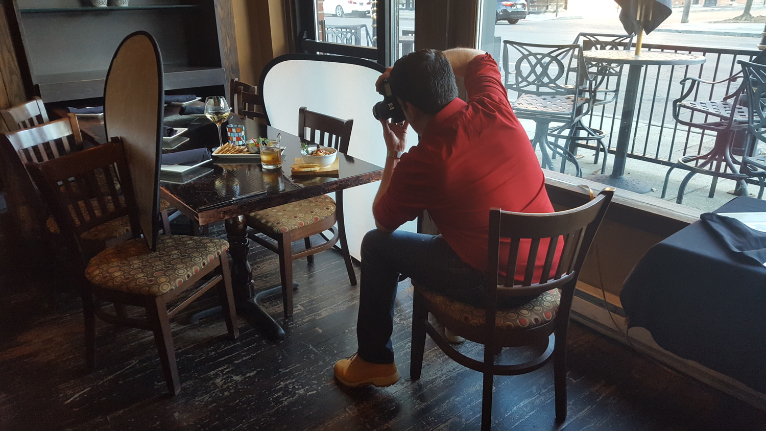 Shooting food on location at a restaurant.