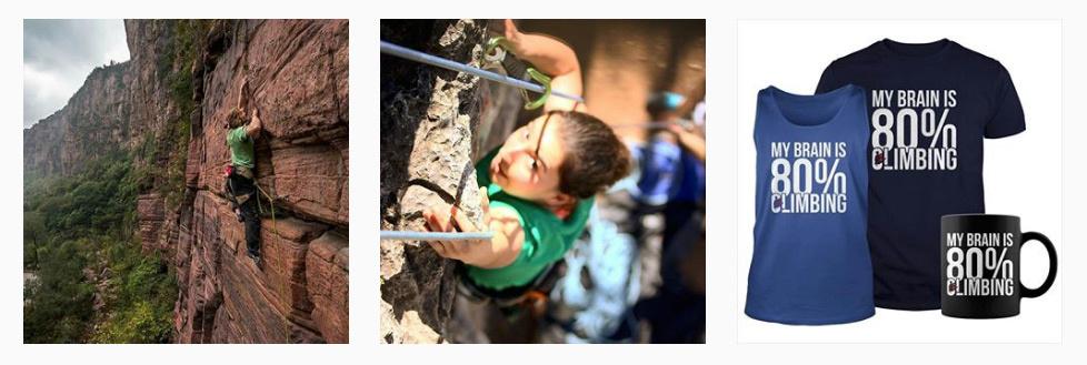 Freebooting Instagram account, rock climbing