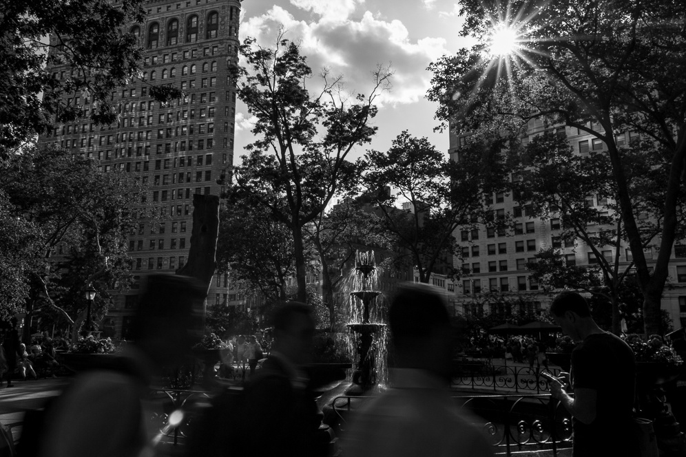 Stree photography in Madisson Park, NYC. Black and white photography.