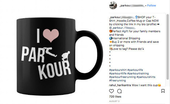 Freebooting Instagram account, parkour mug