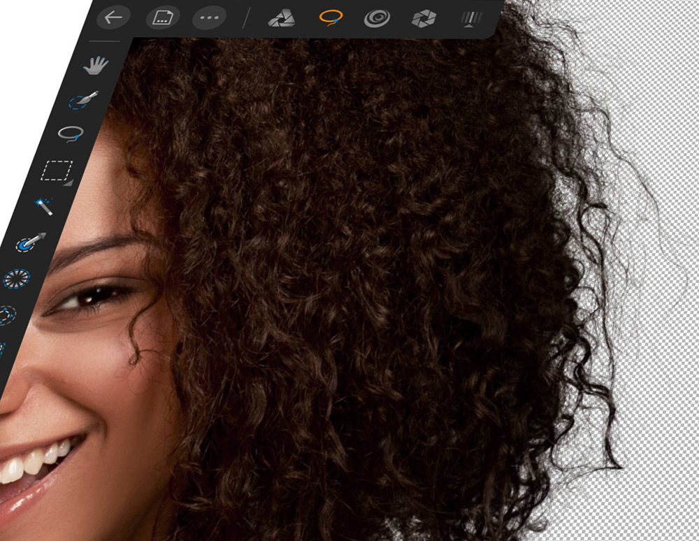 Affinity Photo iPad Flash Sale 50% off. Select single strands of hair.