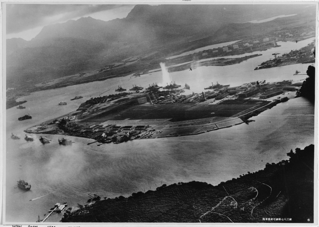 Image taken from a Japanese plane during the torpedo attack on ships moored on both sides of Ford Island.