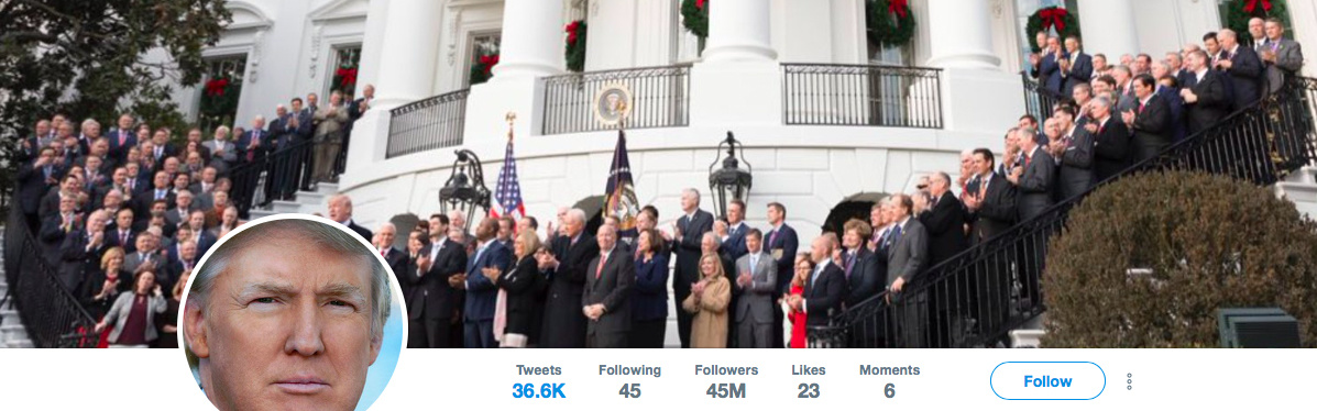 The featured photo on Trump's Twitter feed after the passage of the tax bill.