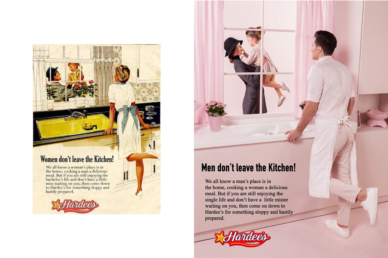 A side by side adverts of a man and a woman in the kitchen
