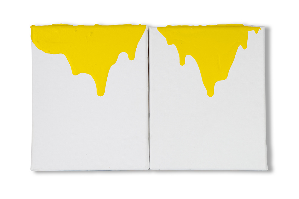 Two vertical canvases side-by-side with yellow paint dripping down from the top.