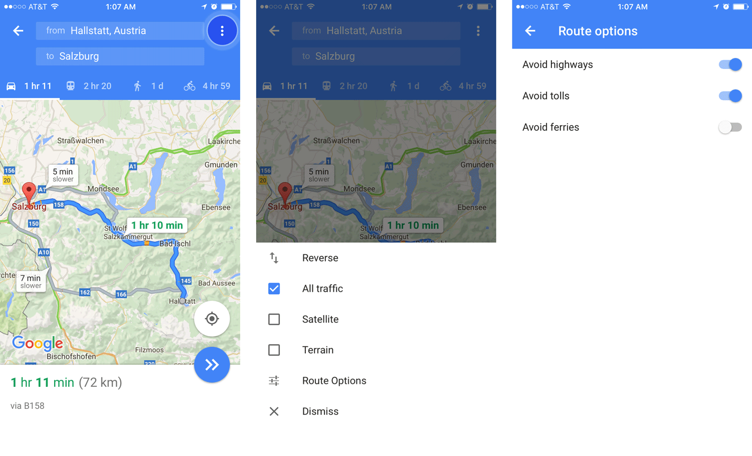 "Take backroads by turning on the ""Avoid highways"" option in Google Maps"